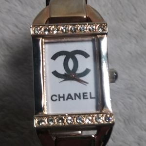 Bangle watch with stones homage to Chanel